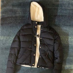 Hollister Girls Sherpa Lined Puffer Bomber Jacket